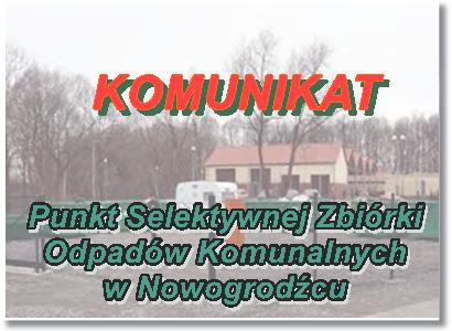 Zmiana godzin otwarcia Punktu Selektywnej Zbiórki Odpadów Komunalnych (PSZOK)